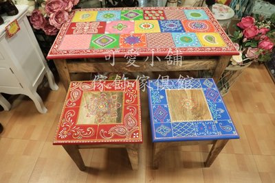 (台中 可愛小舖)印度鄉村風彩繪椅子矮椅穿鞋椅桌椅兒童椅紅色藍色紫色橘色居家飯店民宿旅館百貨公司親子休息區兒童遊戲區