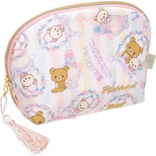 東京家族 懶懶熊 卡通圖案  錢包袋 收納袋 隨身包 淺紫流蘇  現貨