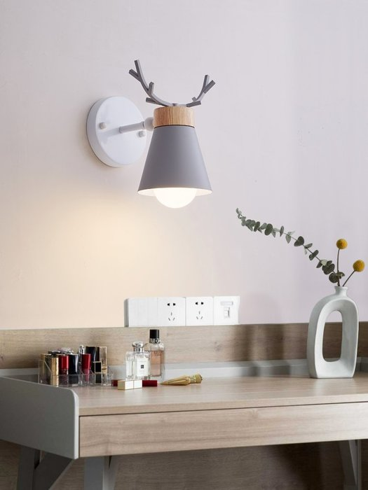 Antlers 北歐 馬卡龍 鹿角 壁燈 簡約創意客廳 臥室床頭 衛生間 壁燈 LED E27 110-220V