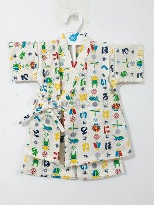 ✪胖達屋日貨✪褲款 80cm 白底 直紋 昆蟲 日本 男 寶寶 兒童 和服 浴衣 甚平 抓周 收涎 攝影