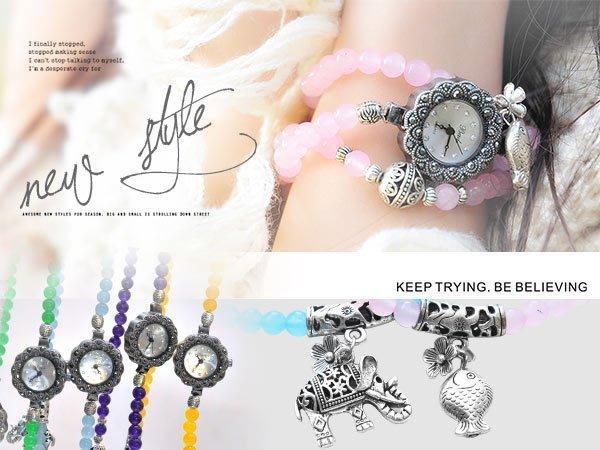 【贈盒】繞復古串珠手鏈 開運天然水晶串珠 精雕花邊錶盤 ☆匠子工坊☆【UQ0086】