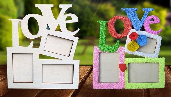 ♥粉紅豬的店♥母親節 活動 創意 造型 愛 LOVE 木質 相框 彩色 雪花泥 珍珠泥 手作 DIY 材料包 吊框-現貨