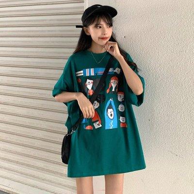 小香風 短袖T恤 時尚穿搭 韓版 趣味卡通印花小個子下衣失蹤寬松疊穿短袖T恤女