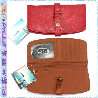 ☆POLLY媽☆歐美ROXY磚紅色、棕色皮質皮帶扣長夾19.5×10×1cm