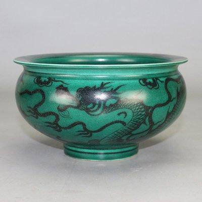 ㊣姥姥的寶藏㊣元代出土墨綠釉龍紋香爐 古玩古董