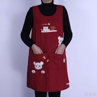 居家家 防油防水圍裙廚房家用女圍裙大號時尚韓版可愛咖啡店奶茶店工作服