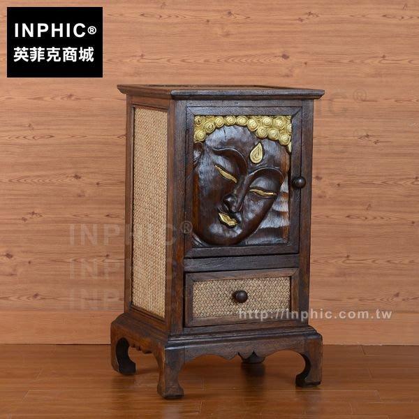 INPHIC-浮雕矮櫃傢俱東南亞佛臉裝飾轉角櫃泰式雕花床頭木櫃_FMG3