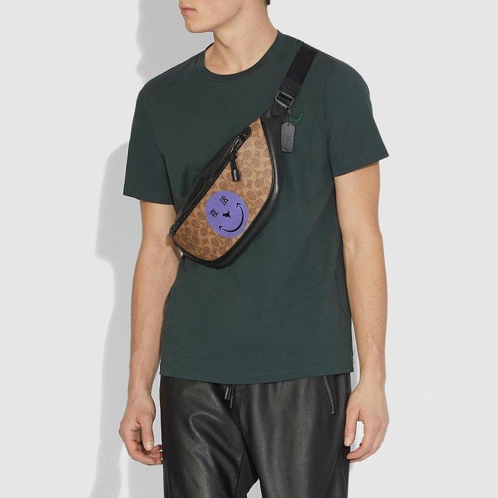 COACH 75587 新款男士限量款紫色夜生活標誌圖案腰包 胸包 單肩包 斜挎包