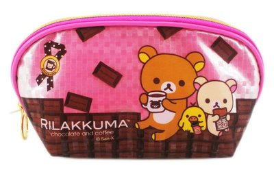 【卡漫迷】 懶懶熊 大開口 化妝包 閃亮粉色 大容量 ㊣版 Rilakkuma 拉拉熊 拉鍊 筆袋 收納 萬用包 鉛筆盒