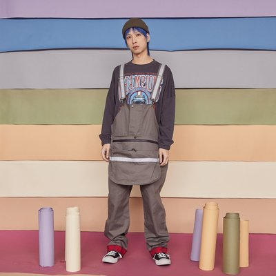 ∵ PRAY FOR FASHION ∴日系阿美咔嘰復古寬鬆oversize老爹連體配可拆裝式前腹大口袋吊帶長褲
