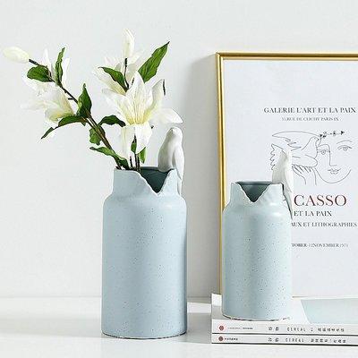 〖洋碼頭〗現代簡約小鳥陶瓷花瓶花器北歐裝飾品擺件客廳電視櫃花插 bhm201