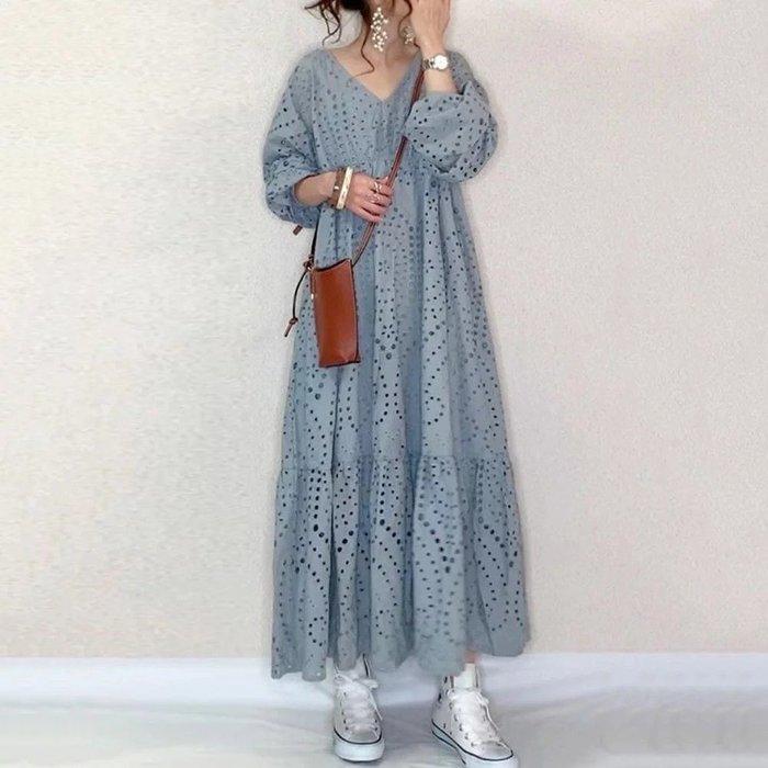 v領鏤空寬鬆連身裙  C7985