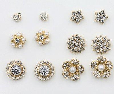 【An Ju Shop】歐美   香奈兒小姐 花朵&圓型鑲鑽  針式 耳環~9對