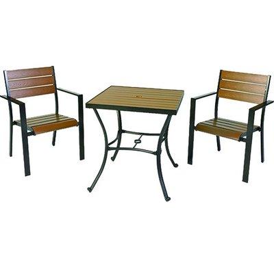 【紅豆戶外休閒傢俱】背三鋁合金塑木方桌椅組 一桌二椅 庭園桌椅 咖啡廳桌椅 餐廳桌椅 中庭桌椅 民宿桌椅 農場桌椅
