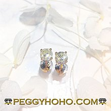 【Peggyhoho】全新18K玫瑰金75份4爪真鑽石耳環一對|ROSE GOLD|超值長青