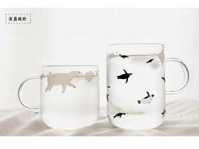 凌晨商社 // 北歐 極簡 清新 北極熊玻璃杯 企鵝玻璃杯 游泳 動物 極簡 插畫 zakka 單個價