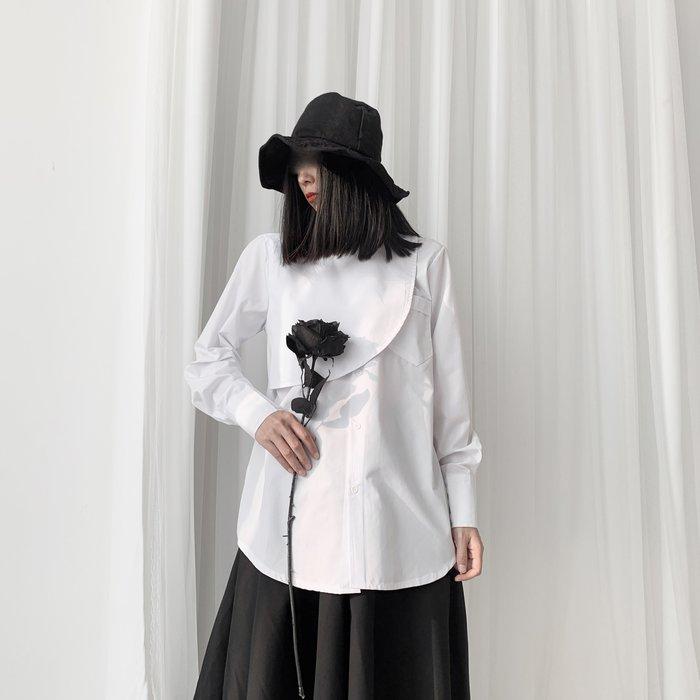 ||一品著衣|| 山本風暗黑系文藝復古不規則疊門襟襯衫小眾設計襯衫 黑白2色 YM
