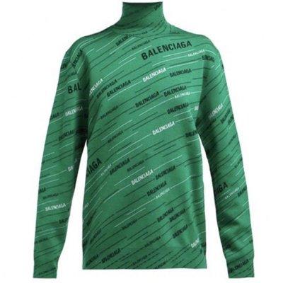 全新真品Balenciaga 高領 黑白Logo徽標 毛衣 上衣