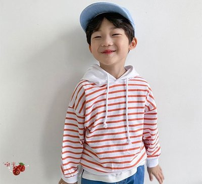 啾米韓國童裝♪~21春~WITTY BOY~Luna條紋連帽上衣~WB0204-33【8折】【17-19售價為620】