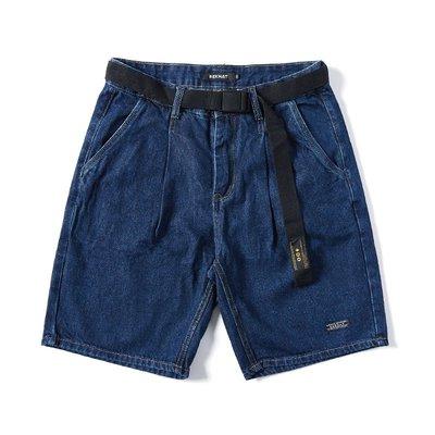 ∵ PRAY FOR FASHION ∴美式復古潮流原色深藍牛仔寬鬆休閒直筒五分短褲