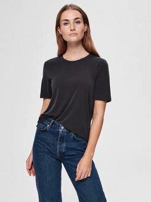 Miolla 歐美品牌Selected 黑色/米色氨銅絲柔軟吸濕涼爽面料素色時尚感圓領T恤