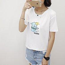 =EF依芙=韓國首爾 時尚精品 東大門同步 夏季新款韓版胖mm時尚小象印花圓領短袖T恤 大碼女裝17825