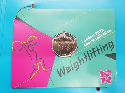 ☆孟宏館☆錢幣2012年英國倫敦奧運50便士紀念幣-舉重ZY.2.26