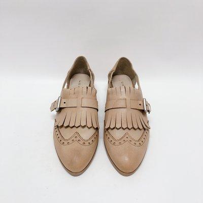 《福利品競標區》【L047 棕色 38號 (24cm)】CHARIOT 牛津雕花款風格側邊鏤空低跟鞋