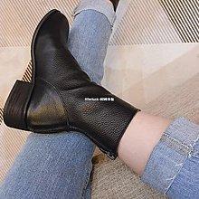 litterluck-韓國專櫃秋冬高品質牛皮百搭中高幫拉鍊秀腿利器低跟女靴