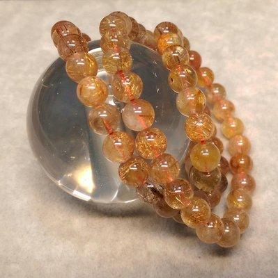 020707 天然紅銅鈦晶手繞3圈 鈦晶手珠 7.5mm 重46g 可當項鍊 晶絲清晰。