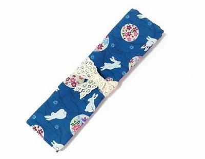 獨家手作~中秋限量款 [ 花好月圓&玉兔 ] 多功能收納袋 眼刷袋 餐具袋筆袋 送禮 生日禮物