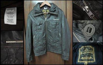 英國 極度乾燥 Superdry brad leather jacket 貝克漢 雙領 合身  真皮 皮衣 白牌 咖啡 黑 經典 SMLXL