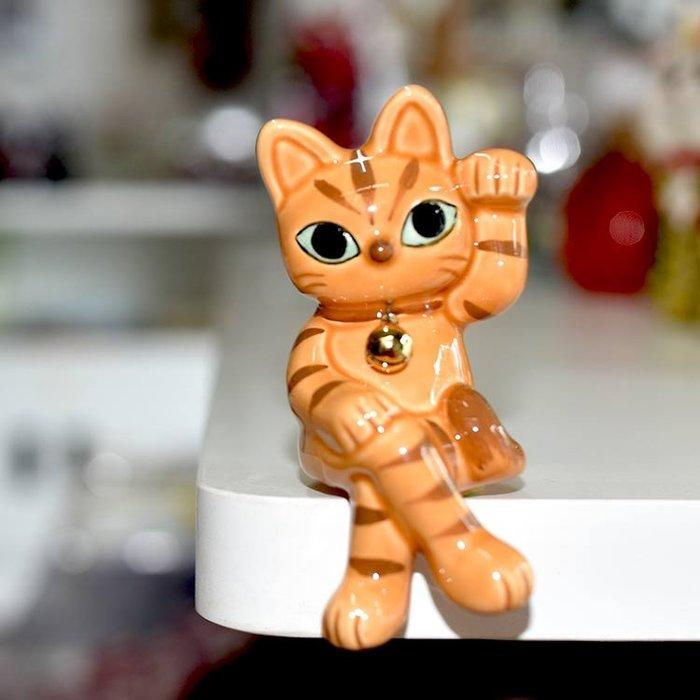 大眼招手 坐姿虎紋幸運招財貓 陶瓷 日本製