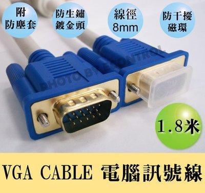 【竹苗易控王】VGA CABLE 電腦訊號線 1.8米 VGA線 15pin 公公 雙磁環防干擾 (30-000)