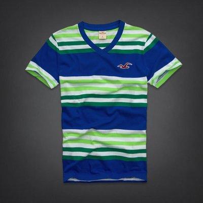 【天普小棧】HOLLISTER HCO Ramona V Neck T-shirt V領條紋短T 短袖T恤M號 現貨抵台