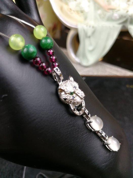 豹頭925純銀水晶項鍊 珠寶精工 鍊長 45CM(頭等艙精品)