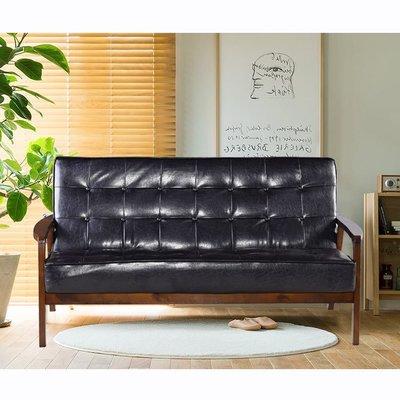 【179購物中心】日式懷舊百年經典復古沙發150cm-三人座皮沙發-破盤價$5999-黑色-強化版大坐深-組裝好