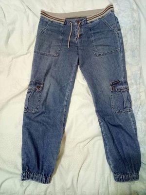 【獨調】帥氣七分綁帶運動型牛仔褲