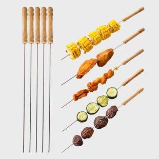 戶外燒烤木柄燒烤針燒烤工具個裝