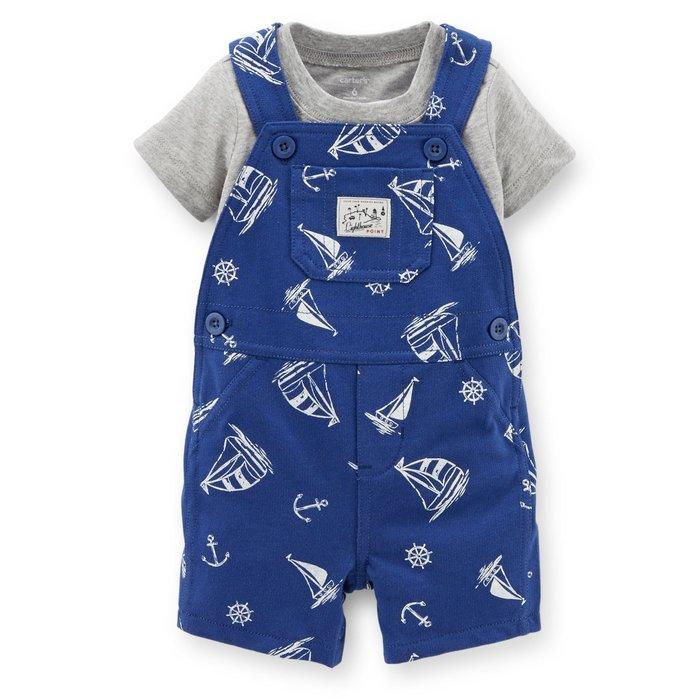 【Carters 卡特】Carter's 美國正品 灰色短袖T恤+寶藍色吊帶褲 男寶寶兩件組套裝 USA美國精品時尚小舖