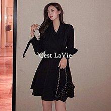 【Cest LaVie】全場包郵 女裝秋冬新款韓版氣質綁帶收腰連衣裙黑色顯瘦翻領A字裙