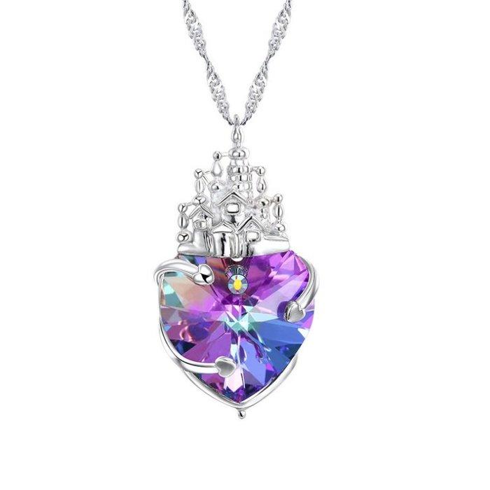 Natela 紫羅蘭童話城堡歐美設計925銀 紫光施華洛世奇元素水晶 飾品女生配件 吊墜 防過敏 獨家設計