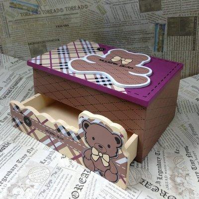 章魚球百貨【0101016】可愛熊1大抽木製首飾盒 化妝盒 收納盒 置物盒 飾品盒 珠寶盒