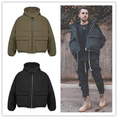 ∵ PRAY FOR FASHION ∴美式Bubble Jacket街頭大口袋闊身寬鬆落肩鋪棉加厚寬鬆連帽外套
