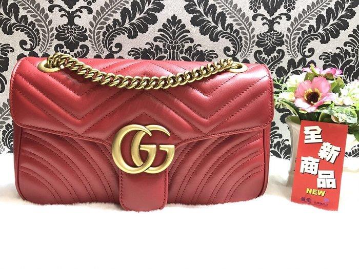 《真愛名牌精品》GUCCI 443497 Marmont 紅色 全皮 金鍊 雙G翻蓋2用包 *全新品*代購