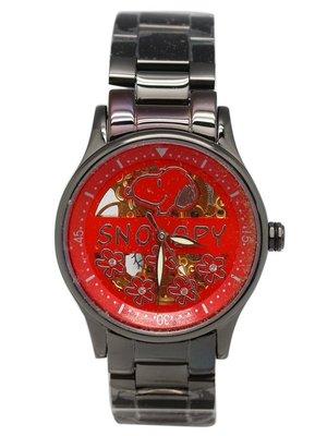 【卡漫迷】  5折 出清 史奴比 自動 機械錶 紅底花 ㊣版 史努比 手錶 女錶 Snoopy 不鏽鋼 藍寶石 水晶鏡面