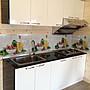 晶彩廚具-一字型廚房/美耐檯面+水晶門板+木芯桶身 總長200公分/總價26400元廚具/流理台