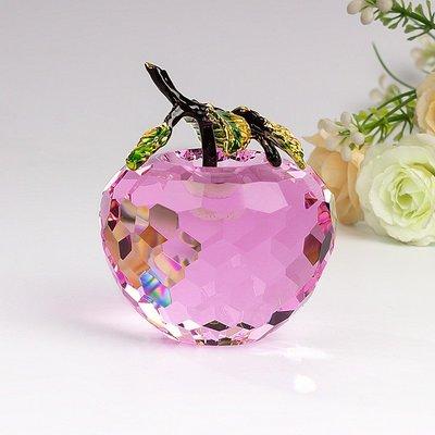 【直銷】水晶蘋果 聖誕禮品 平安夜禮物 琺瑯葉水晶刻面蘋果 雲記X