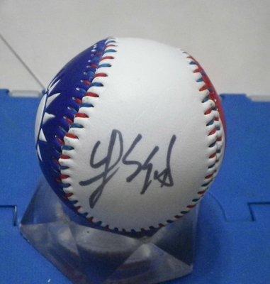 棒球天地--賣場唯一--朱立倫 簽名新版國旗浮雕球.字跡漂亮..