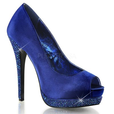Shoes InStyle《五吋》美國品牌 BORDELLO 原廠正品水鑚緞面厚底高跟魚口鞋 有大尺碼『藍色』